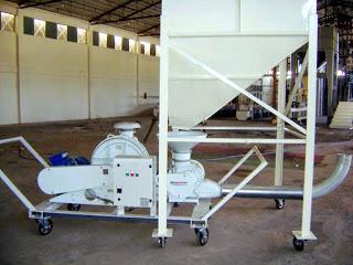Sistema-trasporto-pneumatico-carrellato-lancio-granuli-ventilatore-rotocella