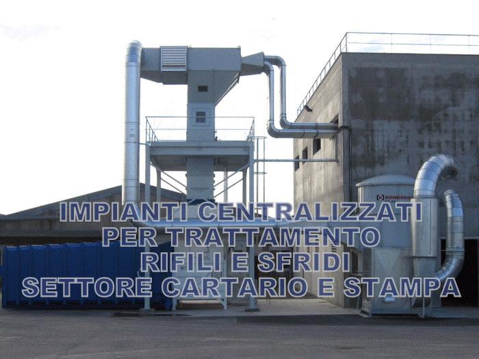 Impianto di aspirazione rifili in spinta con scarico a presscontainer e mandata aria a filtro.