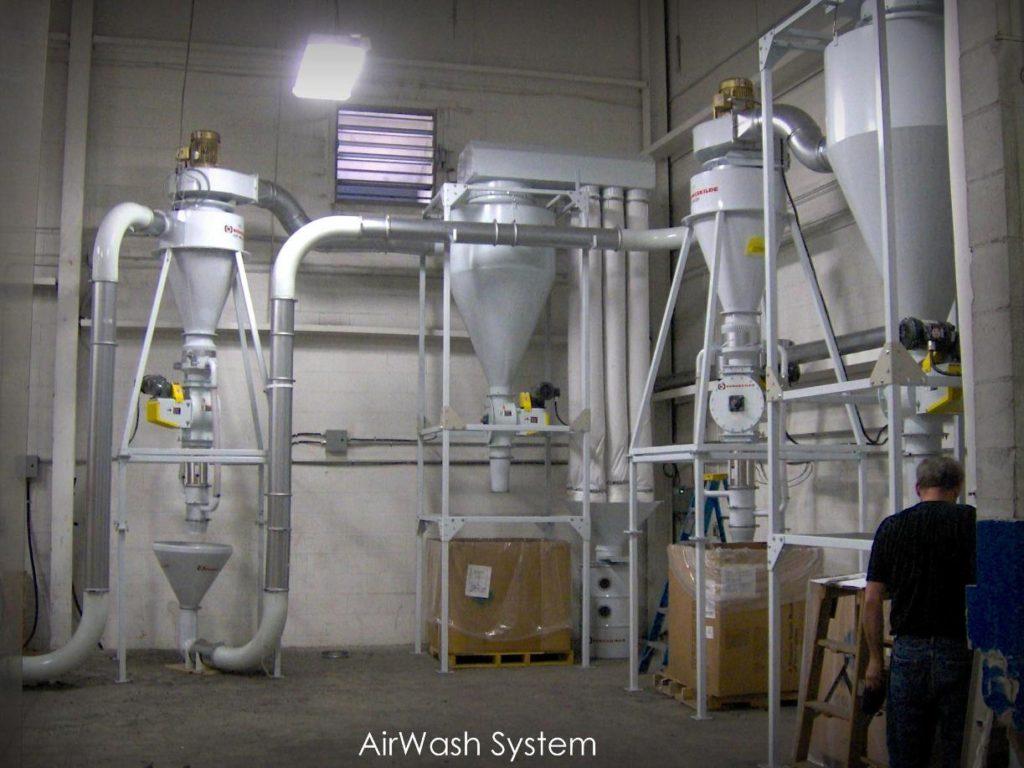 Sistema pulizia e depolverazione AirWash per granuli e scaglie materie plastiche