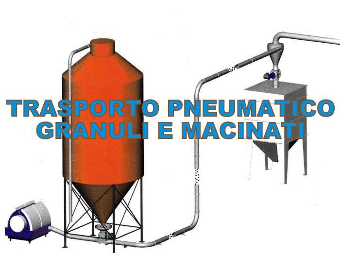 Trasporto pneumatico granuli in spinta con rotocella e ventilatore ad alta pressione