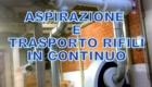 Aspirazione e trasporto pneumatico di rifili continui.