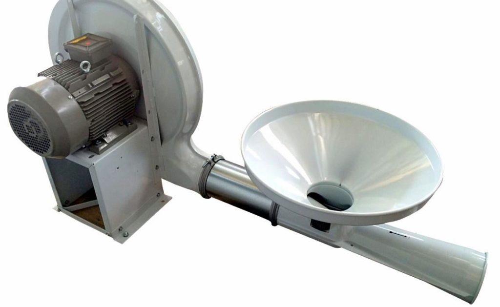 Tramoggia lancio granuli con ventilatore e iniettore venturi