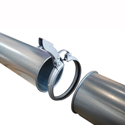 Morsetto rapido di aggancio tubi serie OK, con leva blocco di sicurezza su maniglia.
