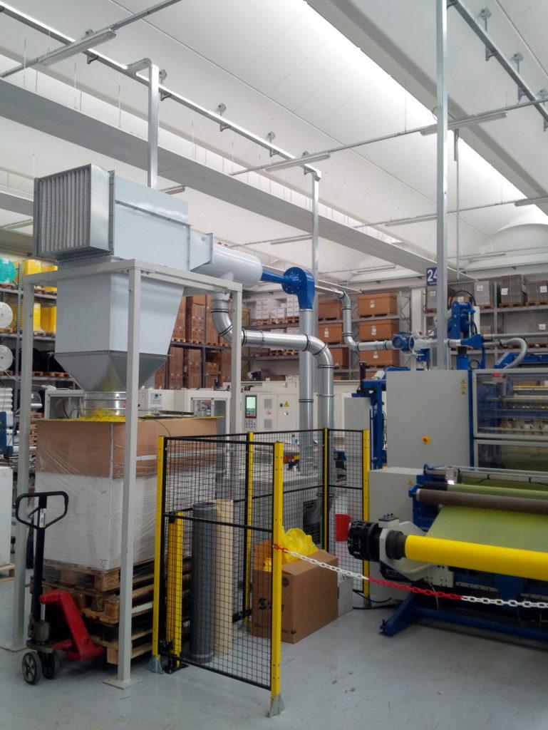 Miglioria esistente impianto aspirazione rifi per taglierina Bimec