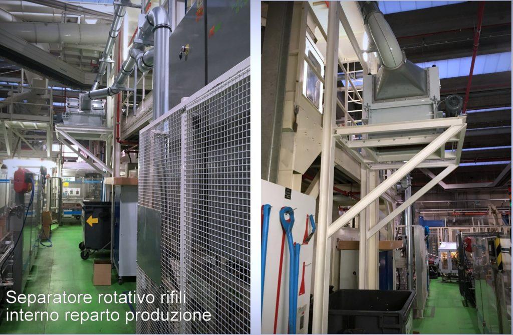 separatore rotativo per ifili scarti sfridi di produzione