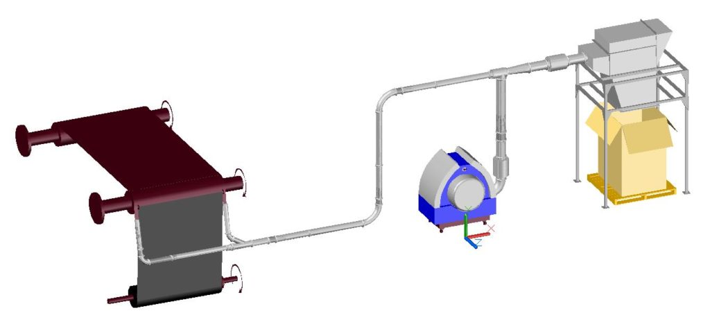 layout aspirarifili con sistema Venturi Kongskilde per taglierina