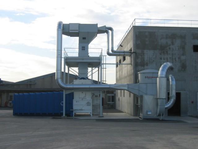 impianto centralizzato prelievo e scarico rifili sfridi fustellati di carta
