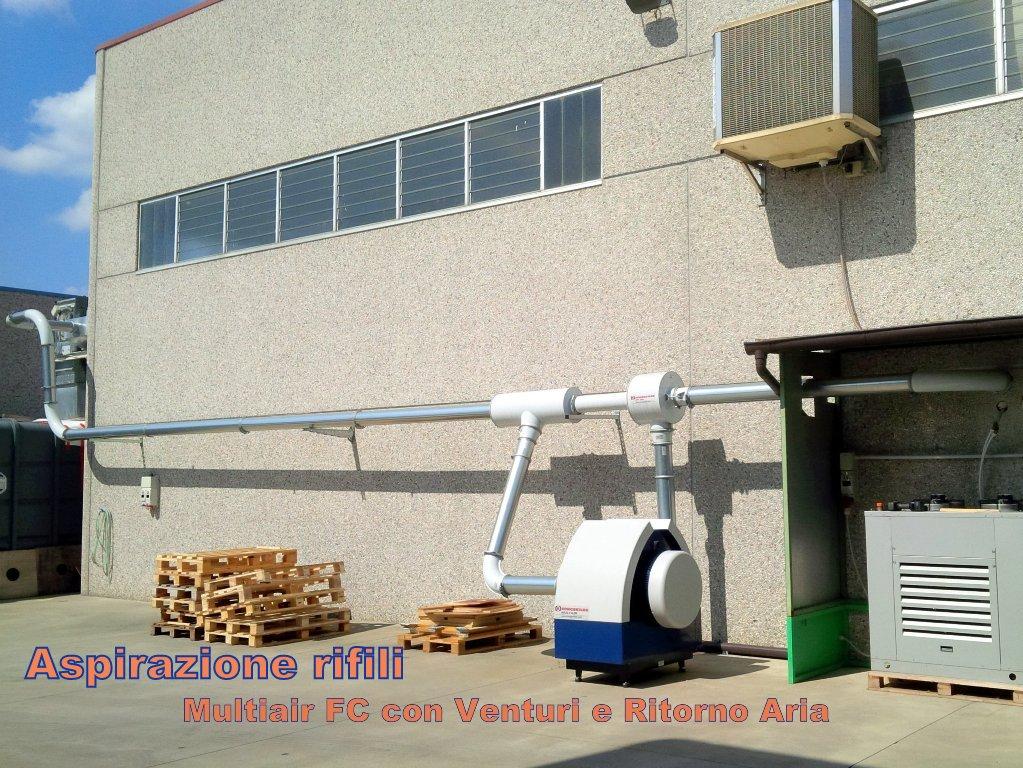 ventilatore con concetto venturi per trasporto rifili