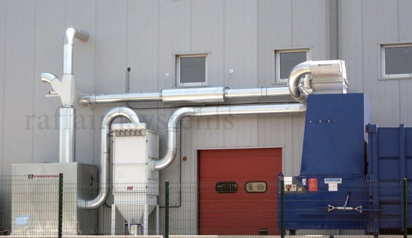 impianto aspirazione rifili di carta con filtrazione aria e scarico a presscontainer